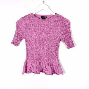 Topshop Pink Knit Shirred Peplum Top